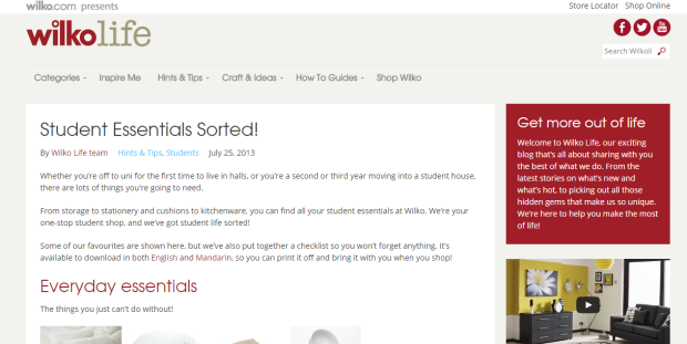 wilkinsons student home page
